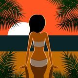 Black haired girl on a beach looks at sunset vector illustration