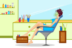 Lady in beauty parlor. Concept of lady doing beauty treatment in parlor . Vector illustration Stock Images