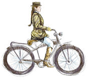 Lady on bicycle. A hand drawn illustration converted into vector of an weighted lady on bike Stock Images