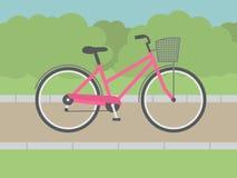 Lady Bike. Flat style illustration Royalty Free Stock Photography