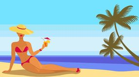 Lady in bikini. With cocktail Royalty Free Stock Image