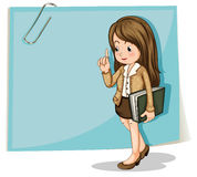 A lady with a binder walking in front of the big empty paper Royalty Free Stock Image