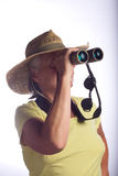 Lady with binoculars Royalty Free Stock Photos