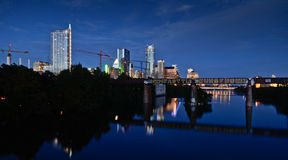 Lady Bird lake and downtown Austin by night. Night time picture of downtown Austin, Texas Royalty Free Stock Image