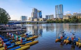 Lady Bird Lake Downtown, Austin, Texas. Boats for rent on the Lady Bird Lake in Austin, Texas downtown royalty free stock photo