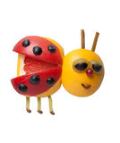 Lady bird made of fruits. On isolated background stock images