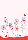 Lady Bird Pink Card_eps. Illustration of like lady bird with flower on pink background Stock Photography