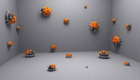 Lady birds room. Render of room interior with many lady birds there Royalty Free Stock Photos