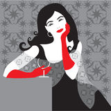 Lady in black. On pattern background Stock Photo