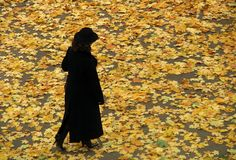 Lady In Black In Autumn Stock Photos