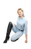Lady in black boots. Royalty Free Stock Photography