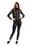 Lady in black checkered sweater. Stock Image