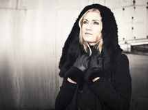 Lady in black Coat Stock Photography