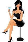 Lady in black with cocktail Stock Images