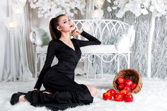 Lady in black dress sitting in a snow covered park stock photo