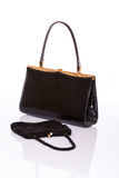 Lady black handbag and wallet Royalty Free Stock Photo
