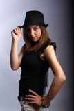 Lady in black hat Stock Photos