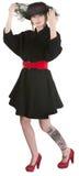 Tatoo Lady Lifting Veil Royalty Free Stock Photography