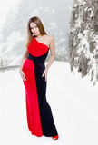 Lady in black-red dress Stock Images