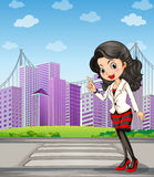 A lady with a black stockings standing at the pedestrian lane. Illustration of a lady with a black stockings standing at the pedestrian lane Stock Photography