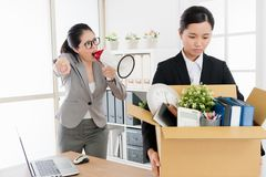 Lady is blamed for wrong decision and is laid off royalty free stock photo