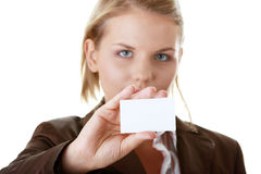 Lady with blank business card Royalty Free Stock Image