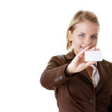 Lady with blank business card Stock Photo