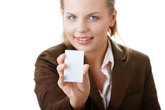 Lady with blank business card Royalty Free Stock Photography