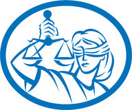 Lady Blindfolded Hold Scales Justice Oval Royalty Free Stock Photo