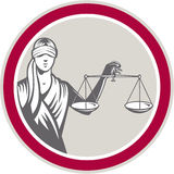 Lady Blindfolded Holding Scales Justice Circle Stock Photography