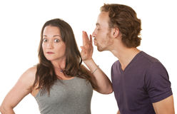 Lady Blocking a Man's Kiss Royalty Free Stock Photos