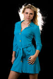 Lady in blue dress Royalty Free Stock Photography