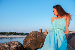 Lady blue dress outdoors Stock Photography
