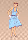 Lady in blue dress in retro style. Royalty Free Stock Images