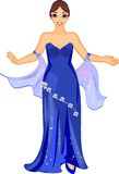 Lady in blue gown Stock Image