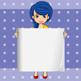 A lady with a blue hair holding an empty signage Royalty Free Stock Photography