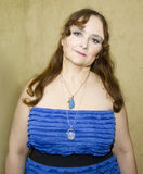 Lady in blue half body Royalty Free Stock Image