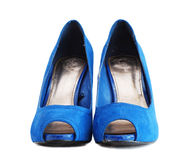 Lady blue shoes Stock Photos