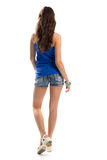Lady in blue tank top. Royalty Free Stock Images