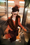 Lady boarding the Troop Train Royalty Free Stock Images