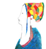 Lady in bonnet. A young lady in a colorful bonnet vector illustration