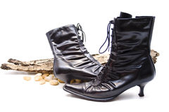 Lady boot. Black lady boot with stone Royalty Free Stock Images