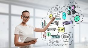 Lady boss draw some ideas. Elegant woman with tablet in hand draw sketches on screen Royalty Free Stock Images