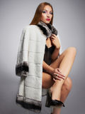 Lady boss in fur Stock Photo