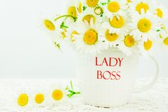 Free Lady Boss Mug With White  Daisy Flower On Wooden Background Royalty Free Stock Image - 182253936