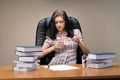 Lady-boss in office Royalty Free Stock Image