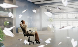Lady boss in office chair . Mixed media Stock Image