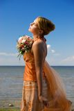 Lady with a bouquet Royalty Free Stock Photography