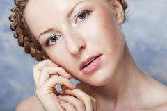 Lady with a braid Royalty Free Stock Images
