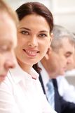 Lady at briefing Royalty Free Stock Photography